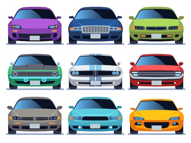 車の正面セット。都市交通車両モデル車アイコン輸送色高速自動道路都市交通運転セット Premiumベクター