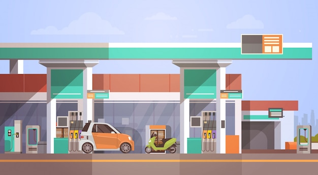 Car fueling at gas petrol station Premium Vector