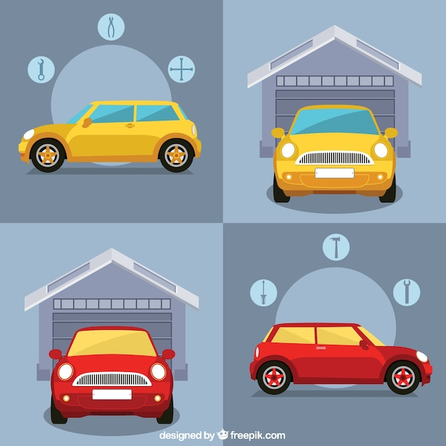 Car garage infographic Premium Vector