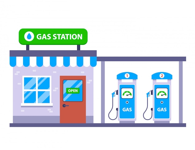 道路で車のガソリンスタンド。 Premiumベクター