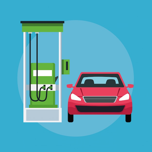 Car in a gas station icon Free Vector