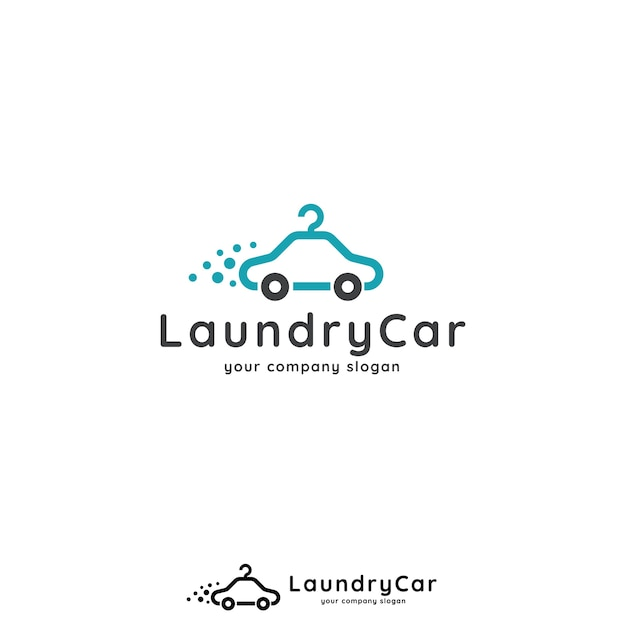 Car and hanger logo concept for car wash, laundry, app, business or services. Premium Vector
