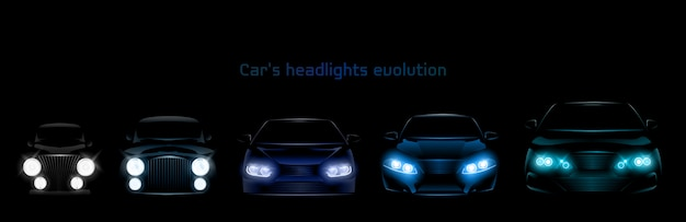Car headlights evolution, glowing front headlamps banner Free Vector