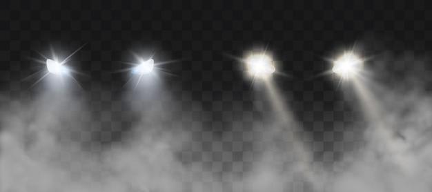 Car headlights shining on road in fog at night Free Vector