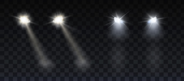 Car headlights shining on road in night Free Vector