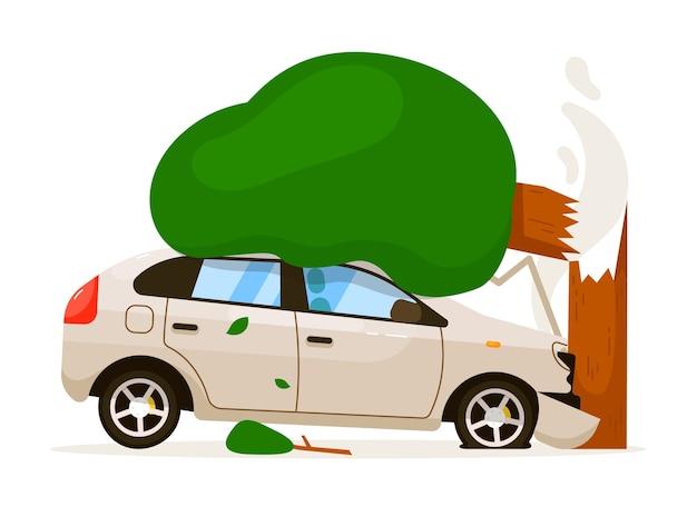 車が木にぶつかった。スピードドライブのため、孤立した車がバンパーで木にぶつかった。白い背景の上の正面フード損傷交通事故リスク保険イラスト Premiumベクター