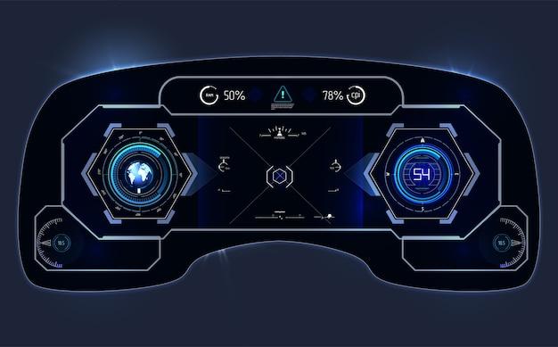 車のhudダッシュボード。抽象的なタッチユーザーインターフェイス。未来的なユーザーインターフェイスhudとインフォグラフィックの要素。 Premiumベクター