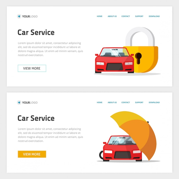 Car insurance or automobile protection service website template   layout or mockup,  cartoon web site landing page and vehicle protected with lock shield or umbrella security banner Premium Vector