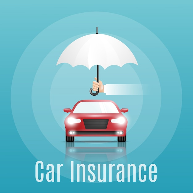 Car insurance concept. banner with text | Premium Vector