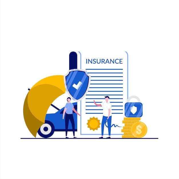 性格のある自動車保険のコンセプト。人々は書類、車、コイン、傘の保護、南京錠、盾の近くに立っています。自動車保険。ランディングページ、インフォグラフィック、ヒーロー画像のモダンなフラットスタイル。 Premiumベクター