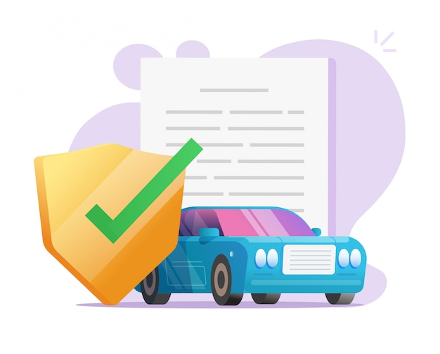 Car insurance coverage protection contract document with shield or auto vehicle guarantee assurance legal doc policy vector flat illustration Premium Vector
