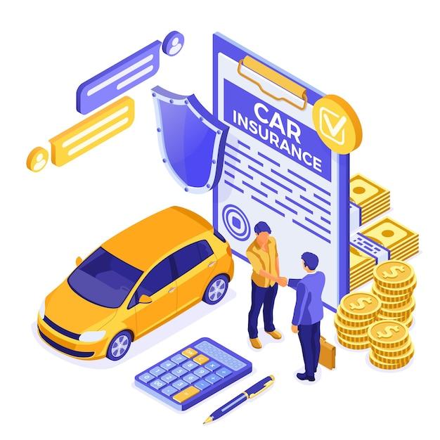 Изометрическая концепция автострахования для плаката, веб-сайта, рекламы Premium векторы