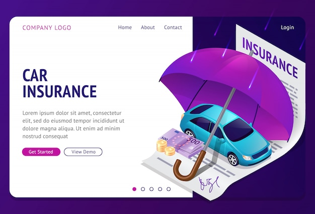 Car insurance isometric landing page Free Vector