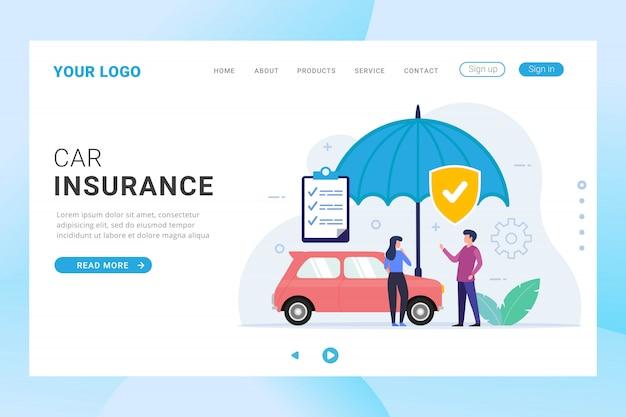 Car insurance landing page template Premium Vector