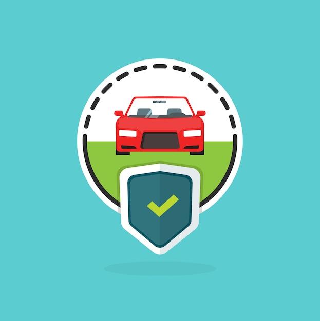 Логотип автострахования на синем фоне Premium векторы