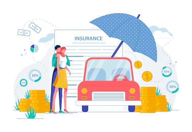 Car insurance and movable property protection. Premium Vector