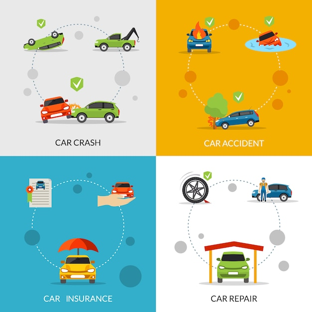 Car insurance set Free Vector
