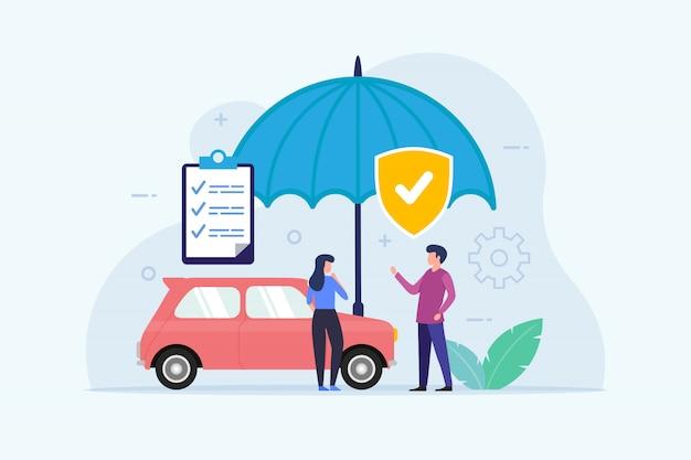 Car insurance   with umbrella protection Premium Vector