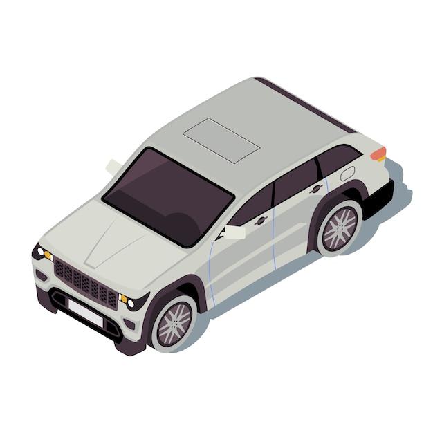 車のアイソメトリックカラーイラスト。都市交通のインフォグラフィック。クロスオーバーsuv。オフロード車。アーバンオート。町の交通機関。白い背景で隔離の自動車3dコンセプト Premiumベクター