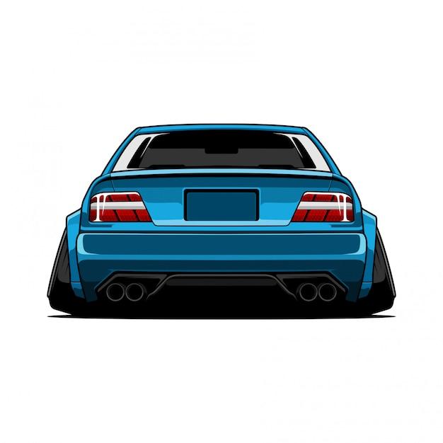 Car jdm  back view Premium Vector