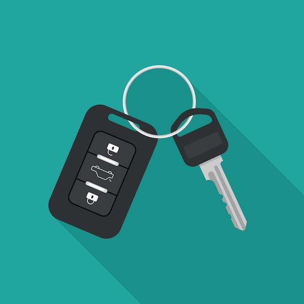 車のキーと警報システム。レンタカーや販売のコンセプト。フラットなトレンディなスタイルのベクトルイラスト。 Premiumベクター