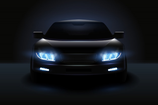 Car led lights realistic composition with dark silhouette of automobile with dimmed headlights and shadows illustration Free Vector