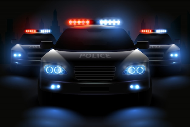 Car led lights realistic composition with images of police patrol wagons with dimmed headlights and light bars illustration Free Vector