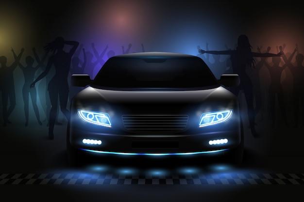 사람들이 실루엣과 희미한 일러스트와 함께 나이트 클럽의 볼 수있는 자동차 led 조명 현실적인 구성 무료 벡터
