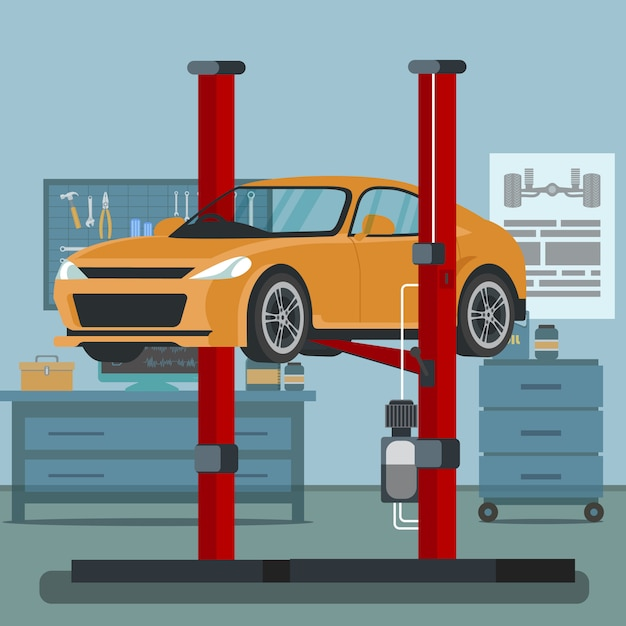 Car lifted up service station Premium Vector