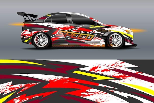 Дизайн ливреи автомобиля со спортивным абстрактным фоном Premium векторы