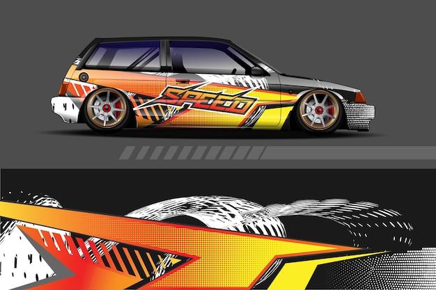 Графика ливреи автомобиля с абстрактным дизайном гоночной формы Premium векторы