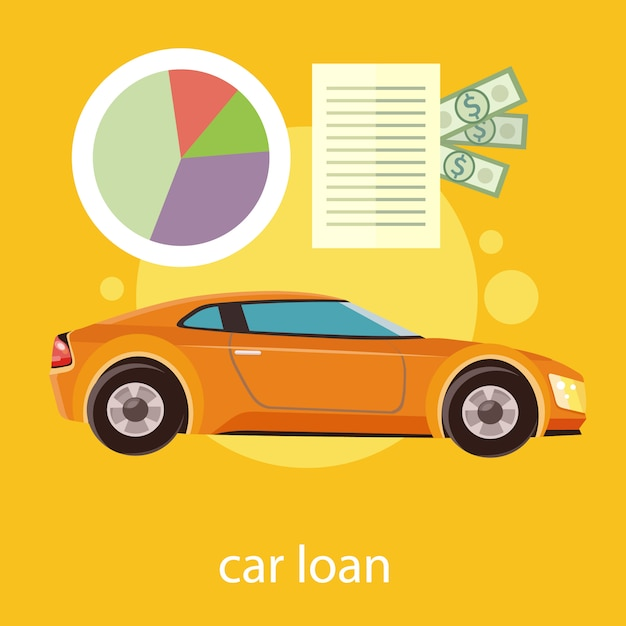Car loan approved document with dollars money. modern car Premium Vector