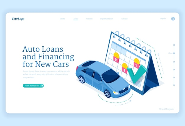 Car loan isometric landing page, new auto financing concept with automobile stand at huge calendar Free Vector