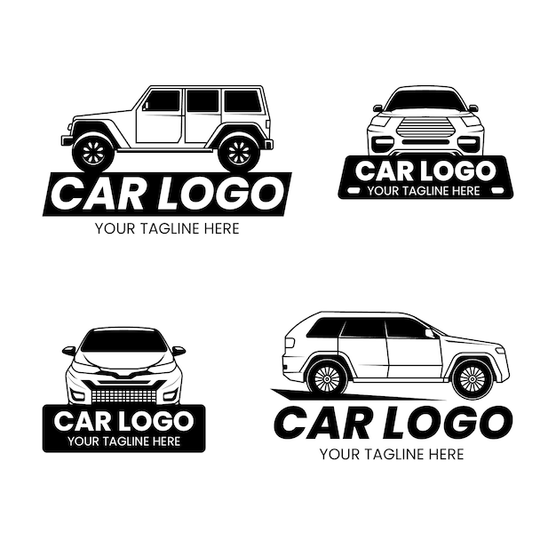 Набор дизайн логотипа автомобиля Бесплатные векторы