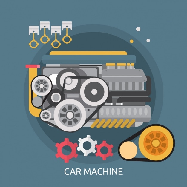 Car machine background design Free Vector