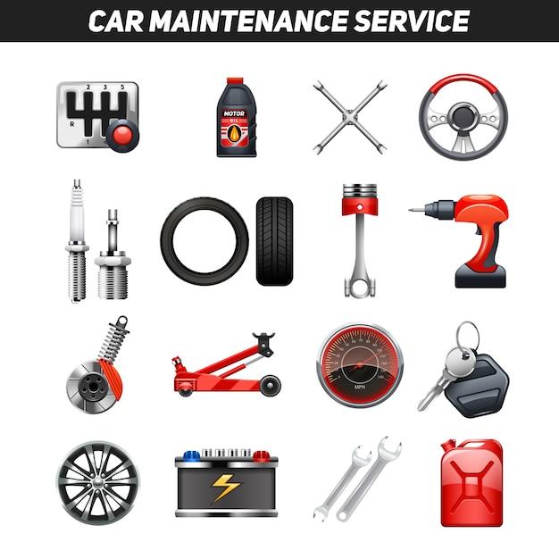 Car maintenance service flat icons set Free Vector