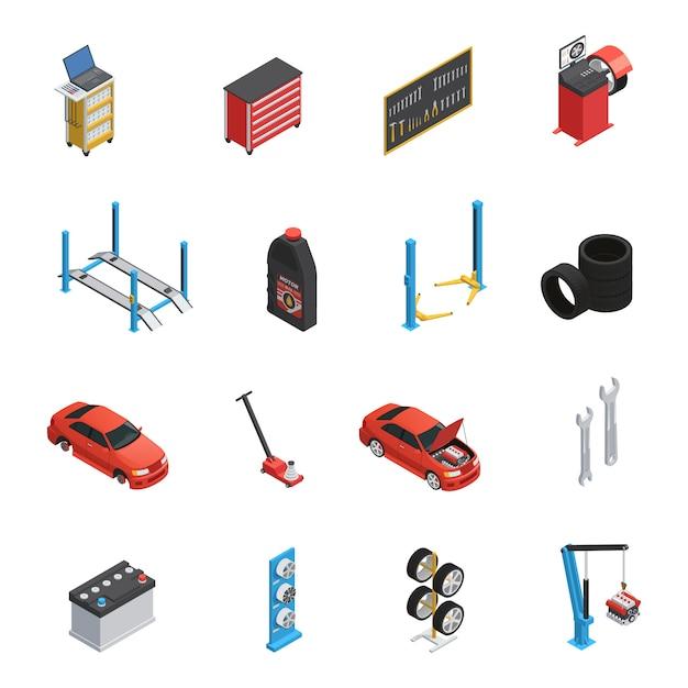 Car maintenance service isometric elements Free Vector