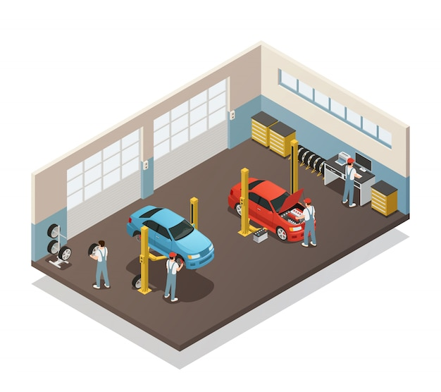 Car maintenance service isometric interior Free Vector