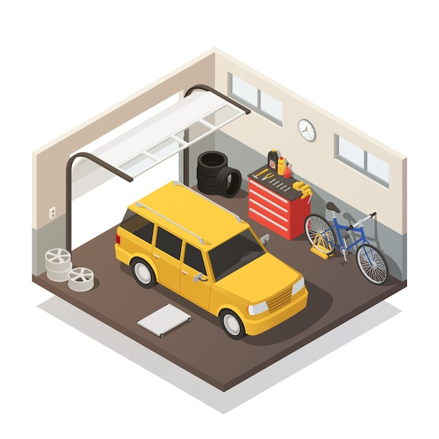 Car maintenance service isometric interior Free Vector