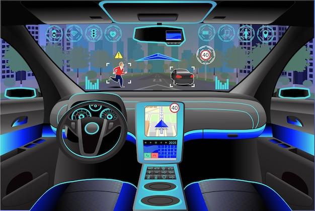 車のモダンなインテリア、内部のコックピットビュー。図。人工知能 Premiumベクター