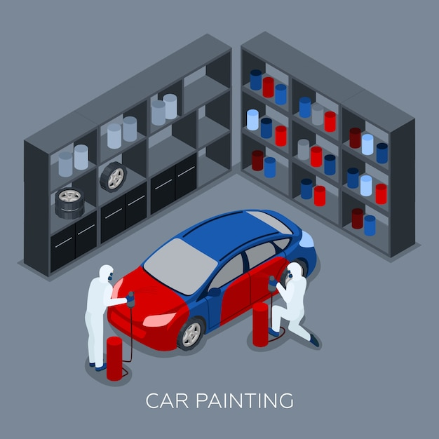 Car painting autoservice isometric banner Free Vector