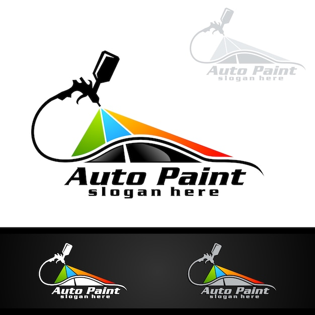 car painting logo with spray gun and sport car concept vector