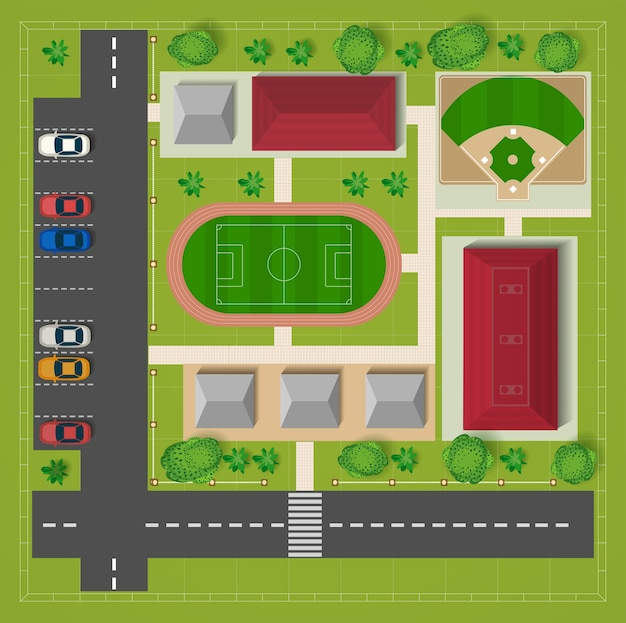 Car parking football stadium top view with cars and trees  Vector