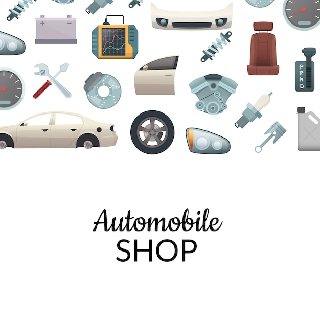 Car parts background Premium Vector