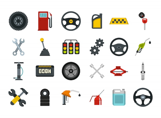 Car Parts Icon Set Flat Set Of Car Parts Vector Icons Collection