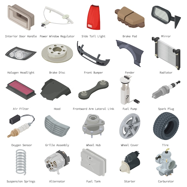 Car parts icons set. isometric illustration of 25 car parts vector icons for web Premium Vector