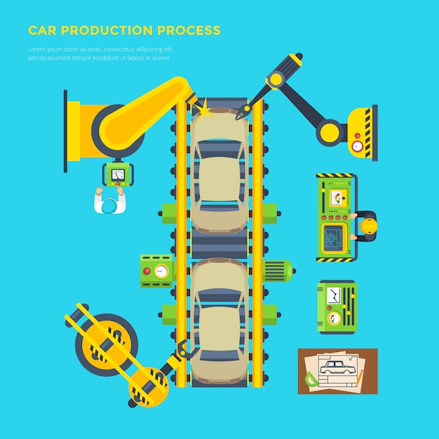 Car production line poster Free Vector