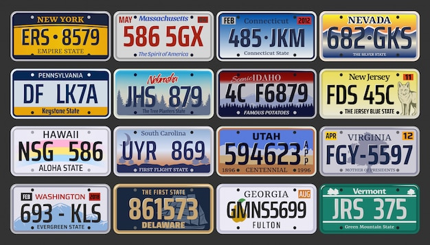 アメリカの自動車登録番号とナンバープレート Premiumベクター
