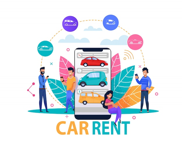 Car rent app concept and  template Premium Vector