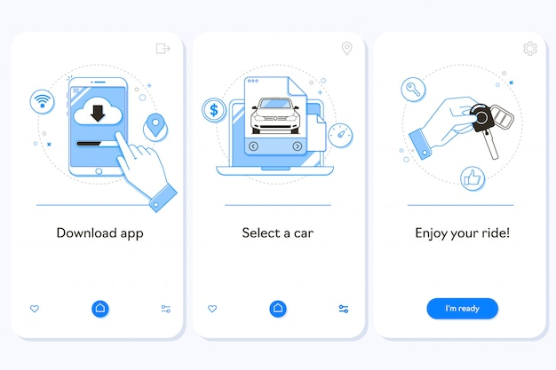 Car rental service on boarding mobile app page screen Premium Vector